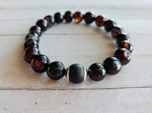 Red & Black Agate Root Chakra Bracelet
