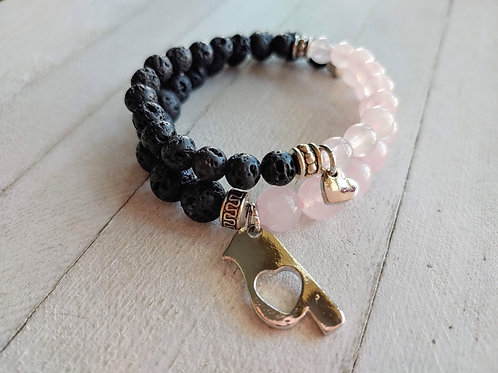 Rose Quartz & Lava Stone Matching Bracelet Set