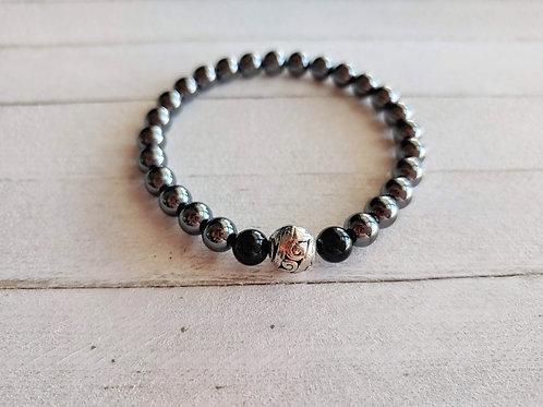 Hematite & Black Agate Bracelet