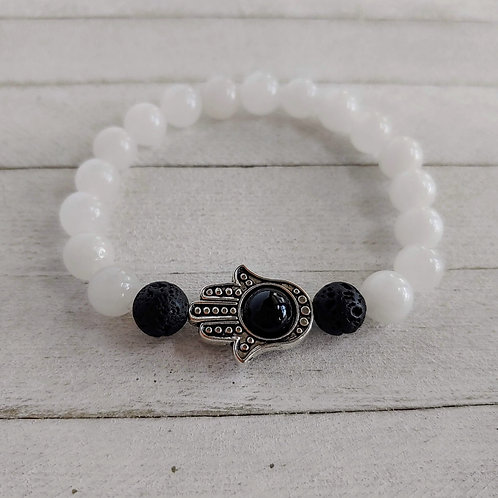 Malaysian White Jade Evil Eye Bracelet.