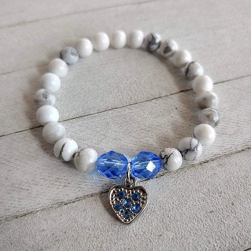 Peace & Love Howlite Bracelet Blue Heart
