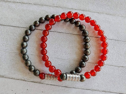 Carnelian and Pyrite Couples Bracelet Set