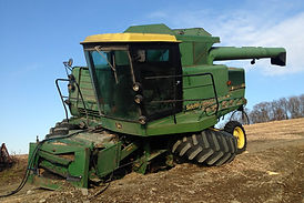 Damaged John Deere Combine