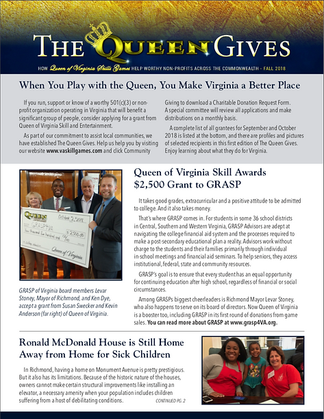 Queen of Virginia Skill Community Giving