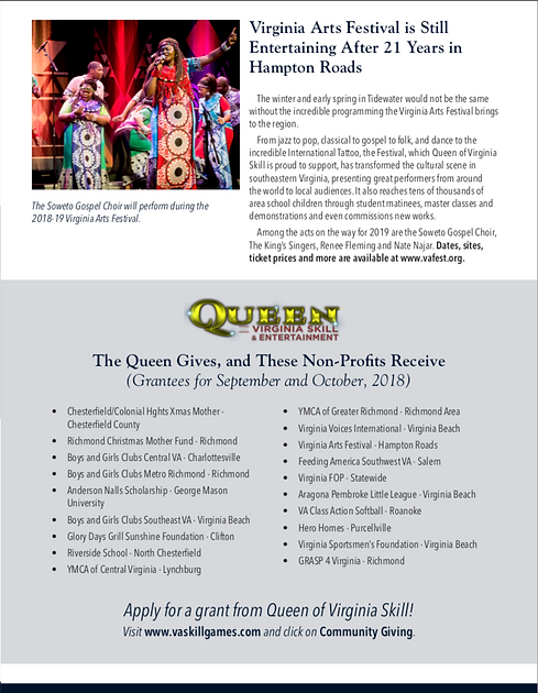 Queen of Virginia Skil Community Giving