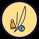 Círculo de fundo bege e borda preta com um desenho de bermbau colorido