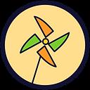 Círculo de fundo bege e borda preta com um desenho de catavento laranja e verde.