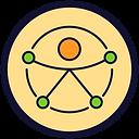Círculo de fundo bege e borda preta com um desenho símbolo da acessibilidade. Uma boneco com braços e pernas de palito, mãos e pés verdes e cabeça laranja. Tudo em círculos e linhas.