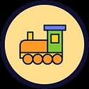 Círculo de fundo bege e borda preta com um desenho de trem colorido