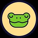 Círculo de fundo bege e borda preta com um desenho de um sapo verde de olhos fechados e sorrindo levemente.
