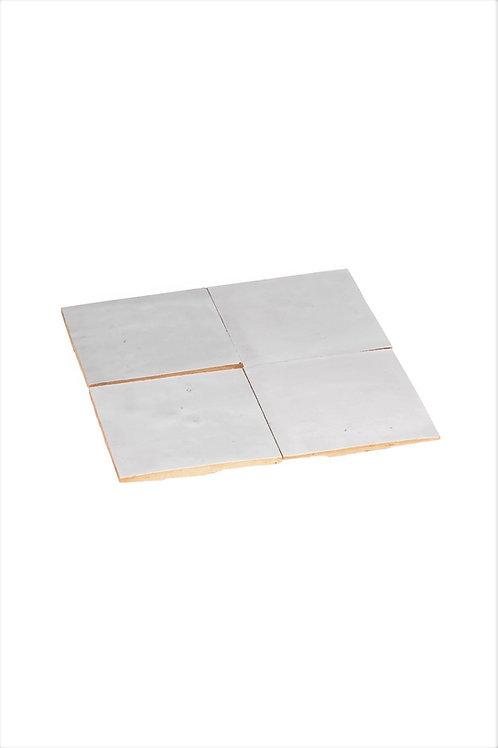 2 samples of Zelliges Blanc de Fez - 10 x 10 x 1.2 cm