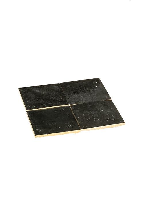 Zelliges Noir Métal - 10 x 10 x 1.2 cm