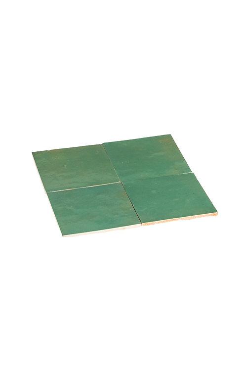 2 samples of Zelliges Vert d'Eau - 10 x 10 x 1.2 cm