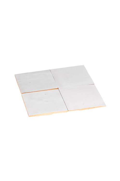 2 samples of Zelliges Blanc Neige - 10 x 10 x 1.2 cm