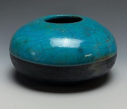 Vessel Raku Fired - Turquoise/Black