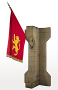 Medieval Stone Buttress & red Flag - Prop Hire - Staging Services