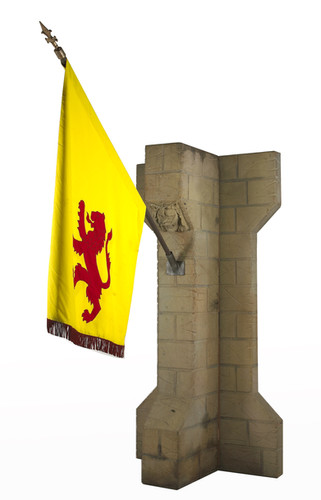 Medieval Stone Buttress & Yellow flag- Prop Hire - Staging Services