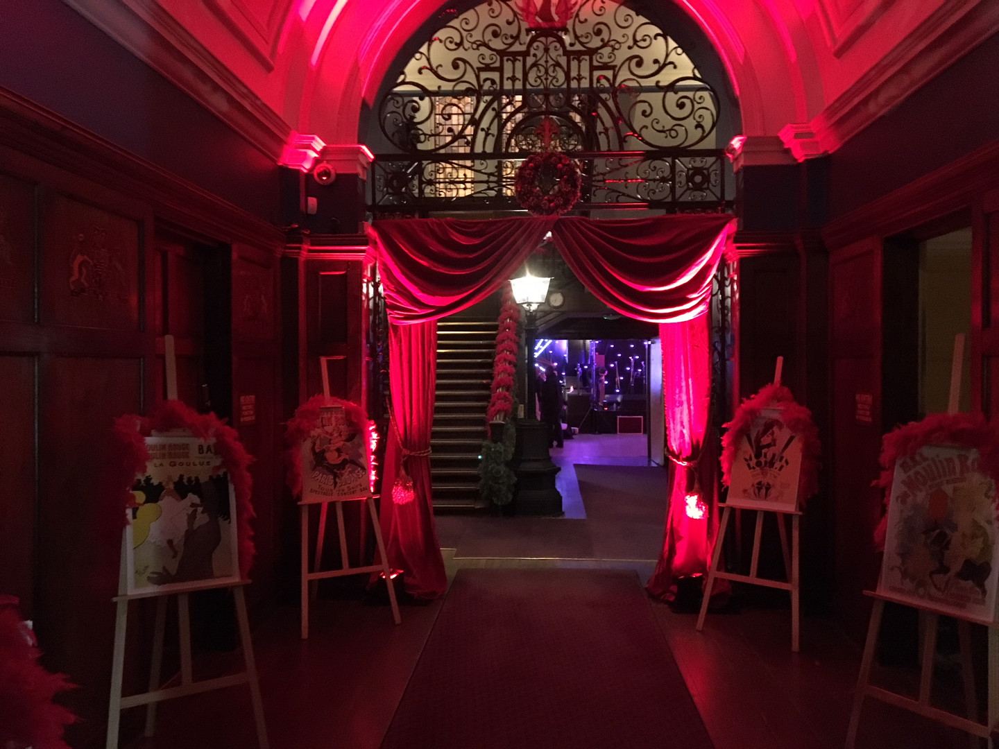 Internal Red Drape Hire - Staging Services