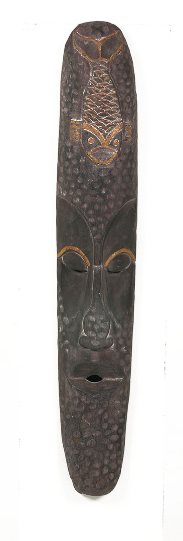 Thin Faced Black & Gold Effigy - jungle prop hire - staging services