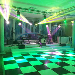 Black & White stage, dance floor and backdrop