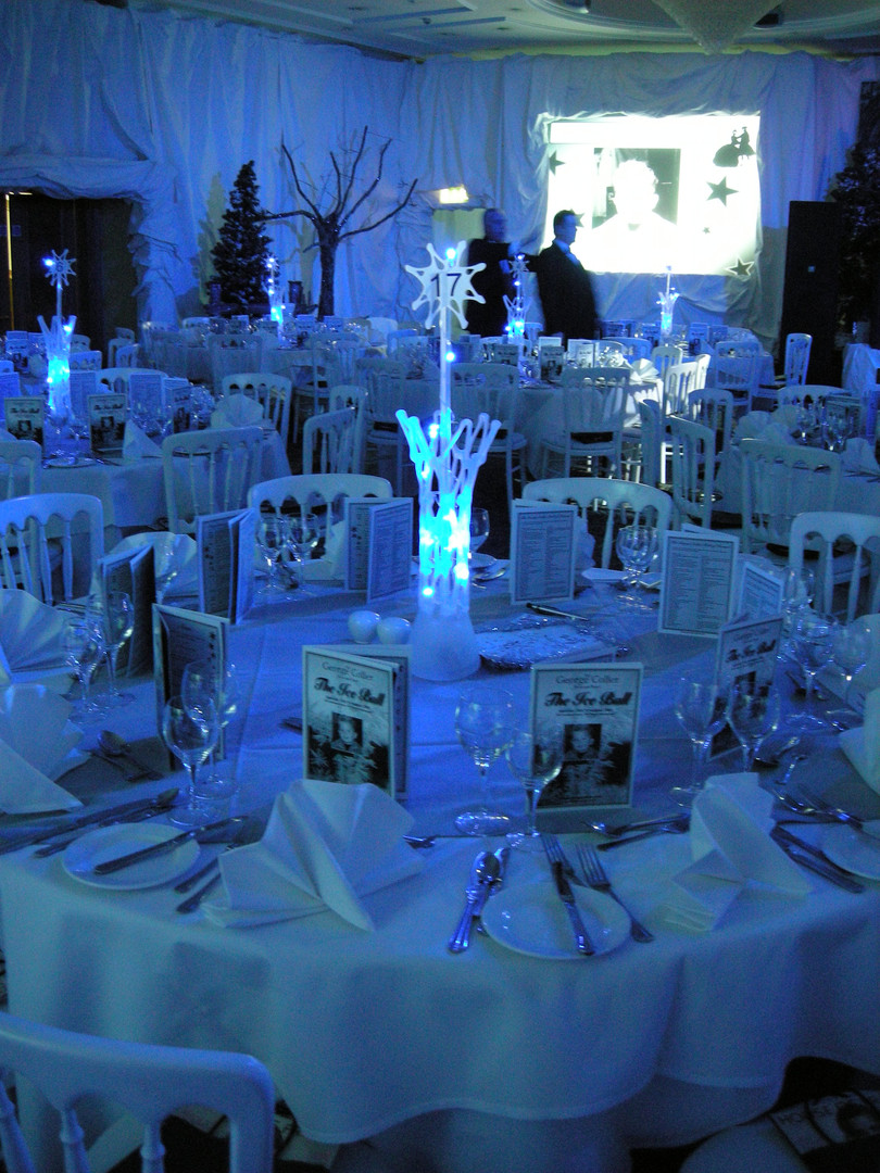 Winter Wonderland Table Centre Vase - Prop hire - Staging Services