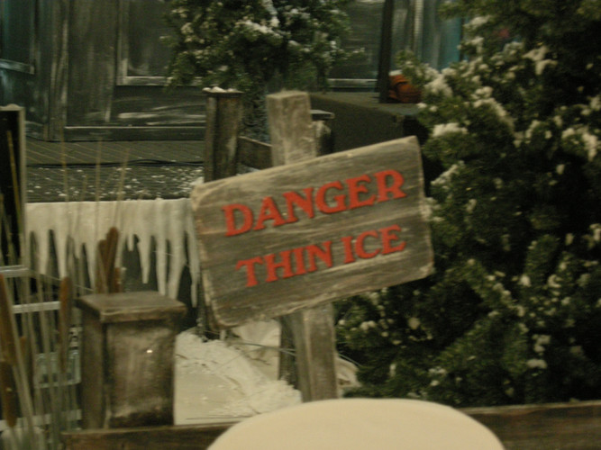 Danger Thin Ice Sign Prop Hire - Staging Services