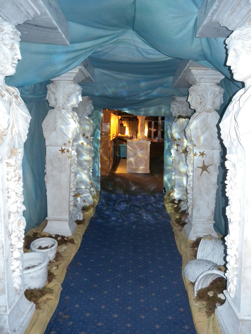 Atlantis - Two faced statue - prop hire - staging services