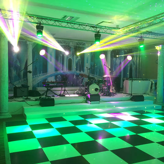 Narnia stage, dance floor and backdrop