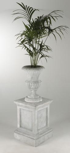 B&W - Marble Pedestal,Urn & Kentia Palm.