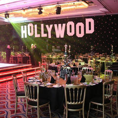 Giant Hollywood Sign with Star Cloth Back