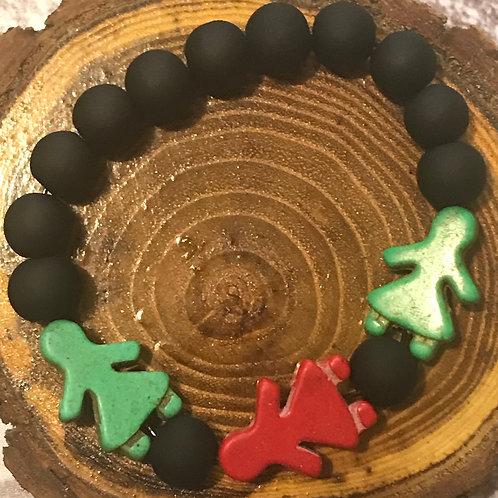 Red & Green Howlite Figure Woman Girl Beads (Semi-Precious Stones)/ Black Glass