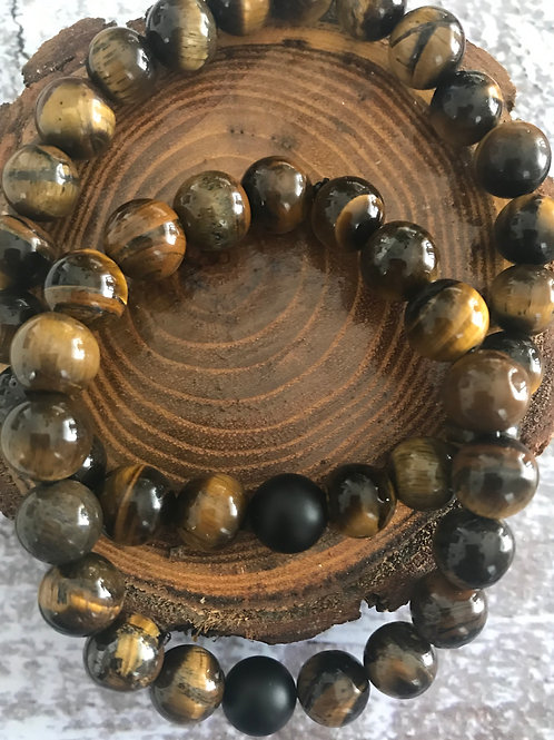 His & Her Matching Tiger's Eye with Black Onyx Bracelets