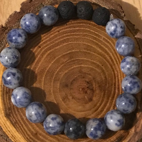 Sodalite with Black Lava Beads