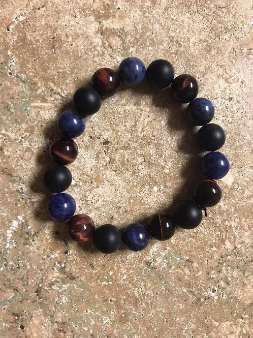 Red Tiger's Eye, Onyx & Sodalite Bracelet