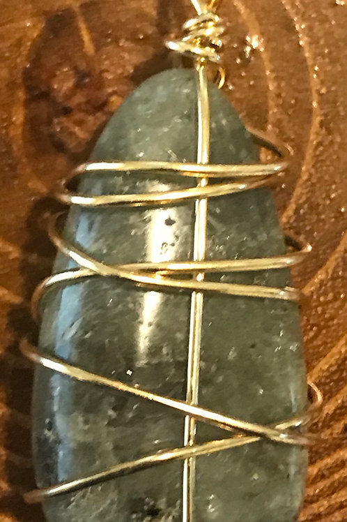 Labradorite Wire-Wrapped Pendant (Nickel-Free)