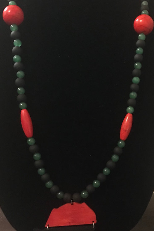 Red, Black and Green (Green Aventurine) Africa Pendant Necklace