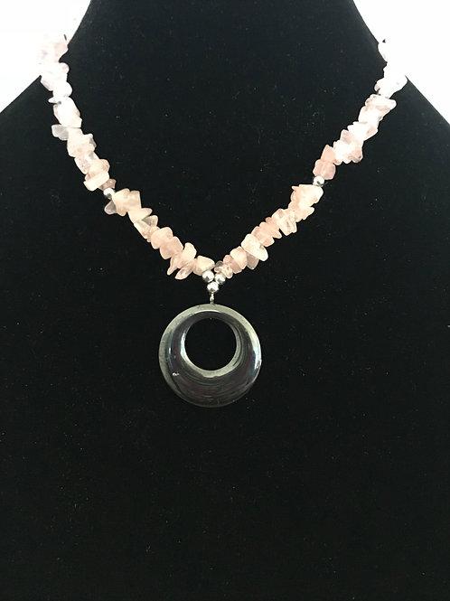 Rose Quartz Chip Necklace with Hematite Circle Pendant