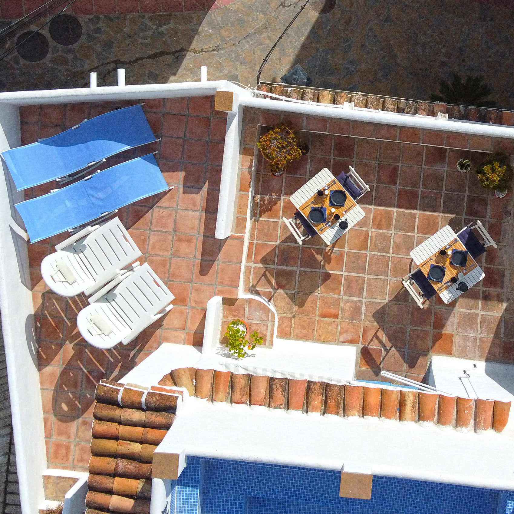 Breakfast terrace and sunloungers