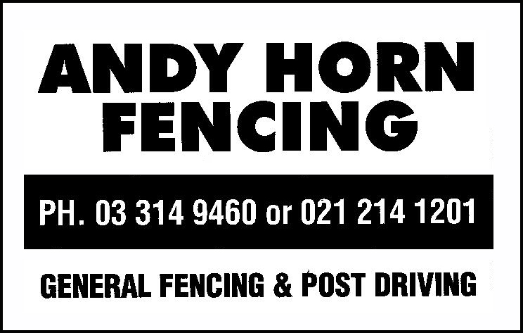 Andy Horn Fencing, Half Page 2019