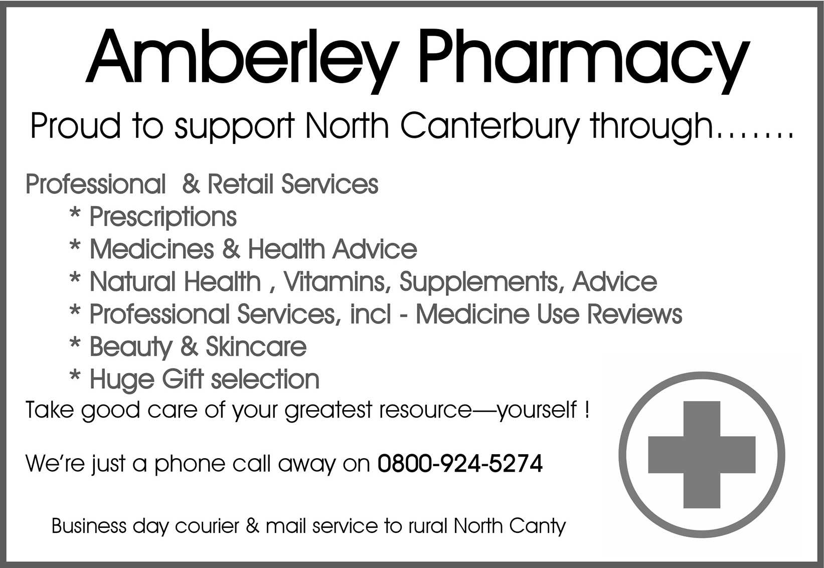AmberleyPharmacy, Half Page 2019