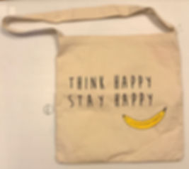 A48 Think Happy Stay Happy 原色帆布側背袋 1個