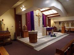 St. Clemnt Catholic Church Bixby altar during Advent
