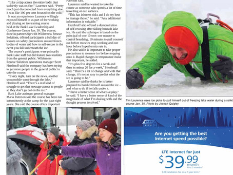 Article In Haliburton Newspaper About Our Working on Ice Rescue Course.