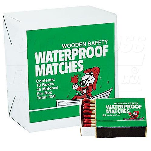 Matches w/Waterproof Tip, 45/Box, 10 Packs/Carton