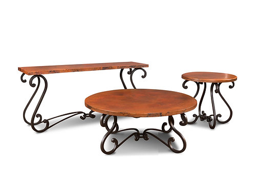 Horizon Home Segovia Hand Hammered Copper Forged Metal Occasional Tables