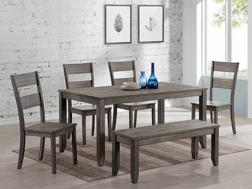 Gray 6 Piece Dining Set w/ Bench