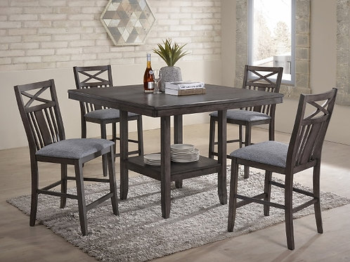 5 Piece Gray Counter Height Dining Set