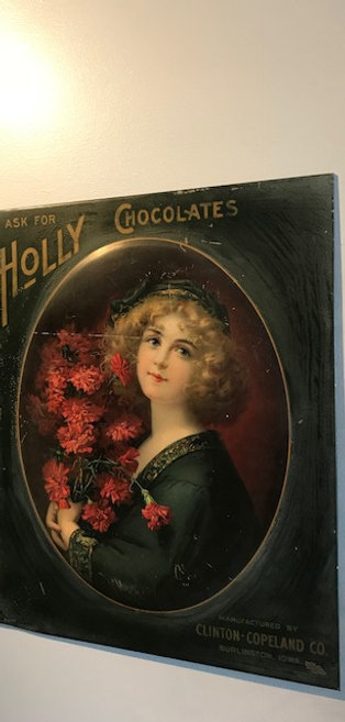 Victorian Holly Chocolate Circa 1900 Advertising sign