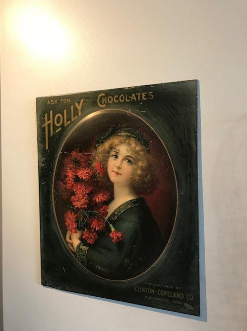 Victorian Holly Chocolate Circa 1900 Advertising sign