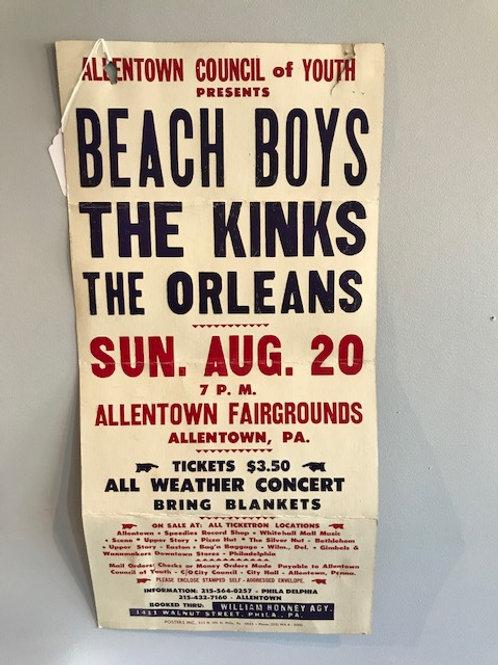 Original 1968 Beach Boys and Kinks concert poster